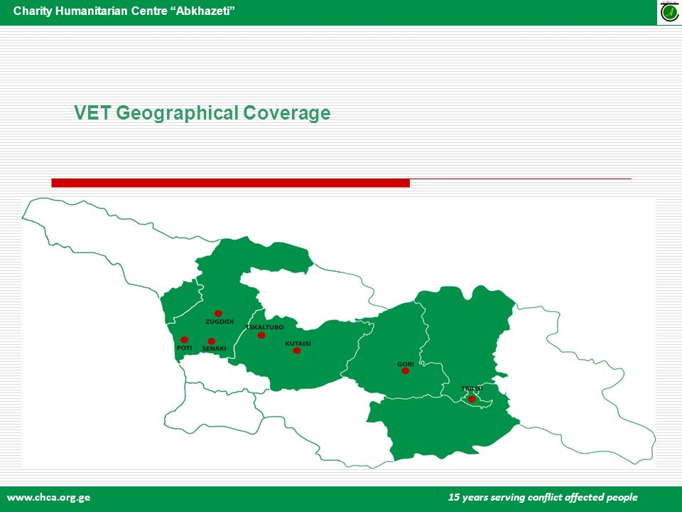 www.chca.org.ge 15 years serving conflict affected people Charity Humanitarian Centre Abkhazeti VET Geographical Coverage