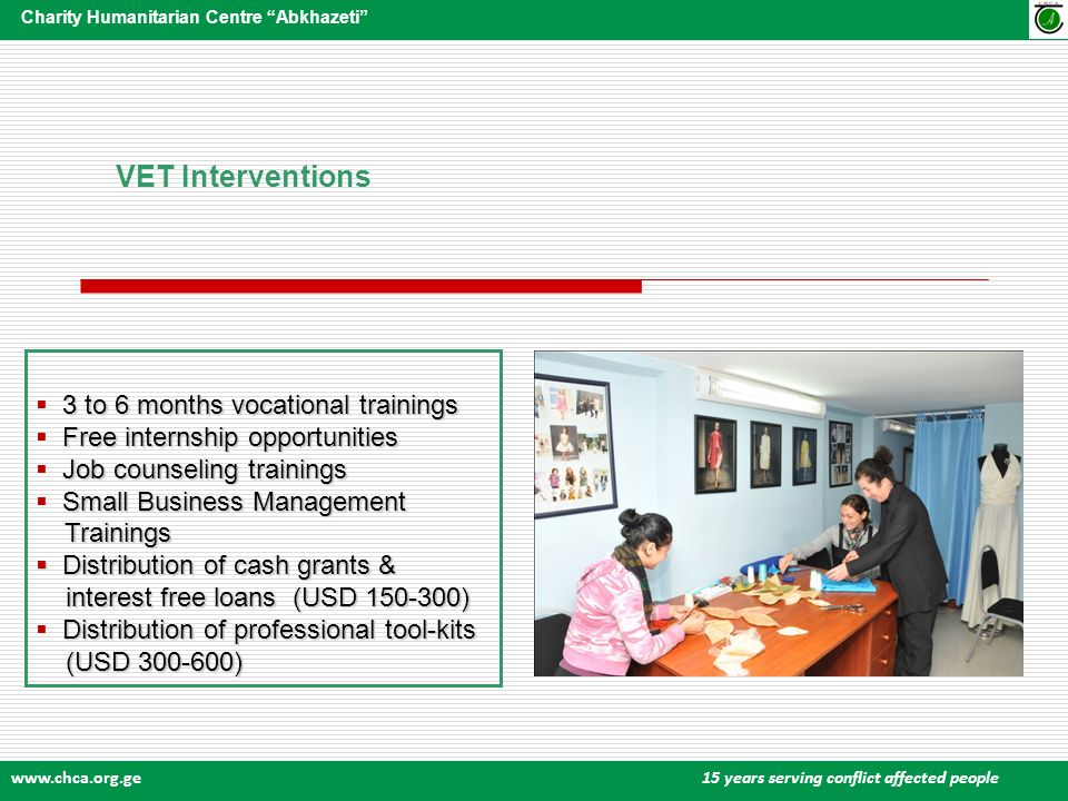 www.chca.org.ge 15 years serving conflict affected people Charity Humanitarian Centre Abkhazeti VET Interventions 3 to 6 months vocational trainings Free internship opportunities Job counseling trainings Small Business Management Trainings Trainings Distribution of cash grants & Distribution of cash grants & interest free loans (USD 150-300) interest free loans (USD 150-300) Distribution of professional tool-kits (USD 300-600) (USD 300-600)