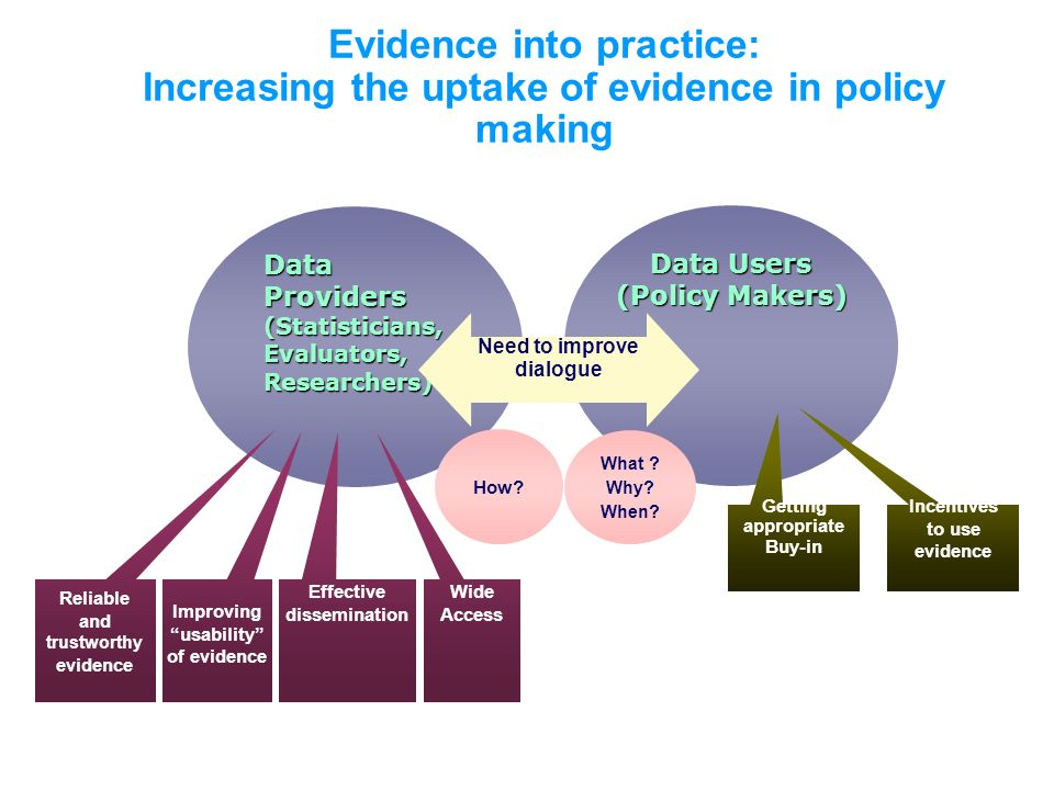 Evidence into practice: Increasing the uptake of evidence in policy making Data Providers (Statisticians, Evaluators, Researchers) Data Users (Policy Makers) Need to improve dialogue Improving usability of evidence Reliable and trustworthy evidence Getting appropriate Buy-in Incentives to use evidence What .