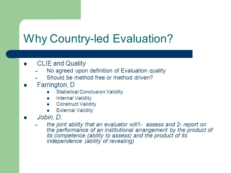 Why Country-led Evaluation.