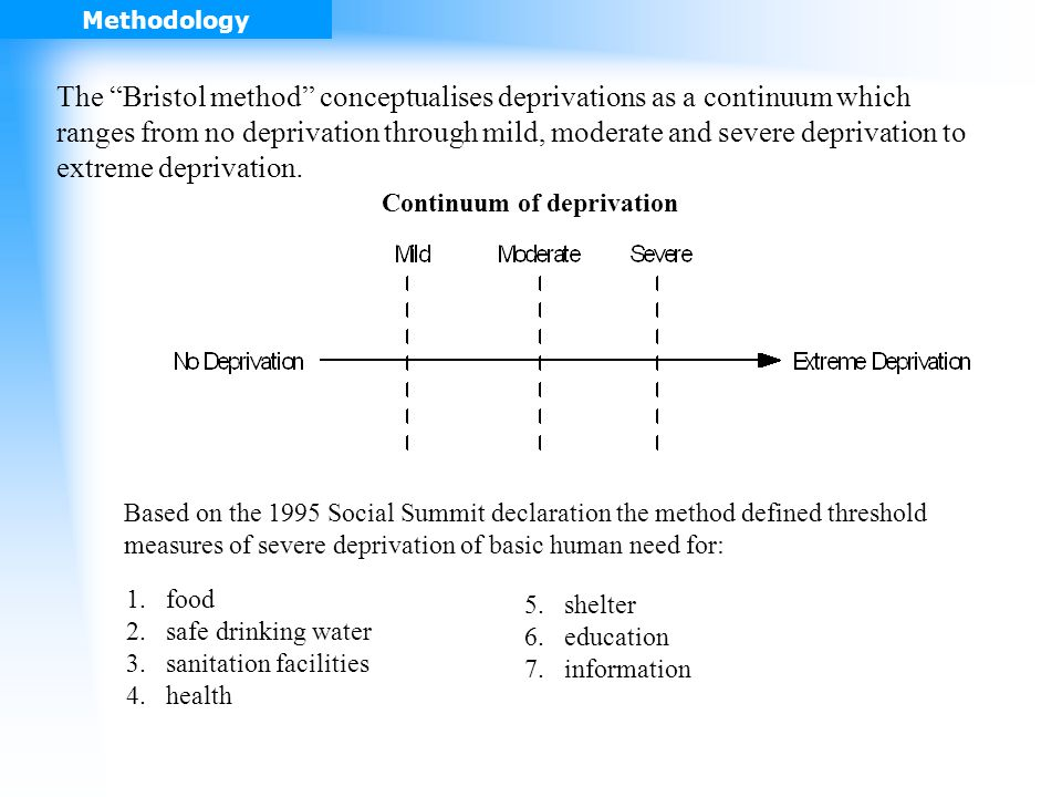 The Bristol method conceptualises deprivations as a continuum which ranges from no deprivation through mild, moderate and severe deprivation to extreme deprivation.