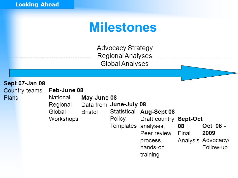 Milestones Sept 07-Jan 08 Country teams Plans Feb-June 08 National- Regional- Global Workshops June-July 08 Statistical- Policy Templates Aug-Sept 08 Draft country analyses, Peer review process, hands-on training Sept-Oct 08 Final Analysis Advocacy Strategy Regional Analyses Global Analyses May-June 08 Data from Bristol Looking Ahead Oct 08 - 2009 Advocacy/ Follow-up