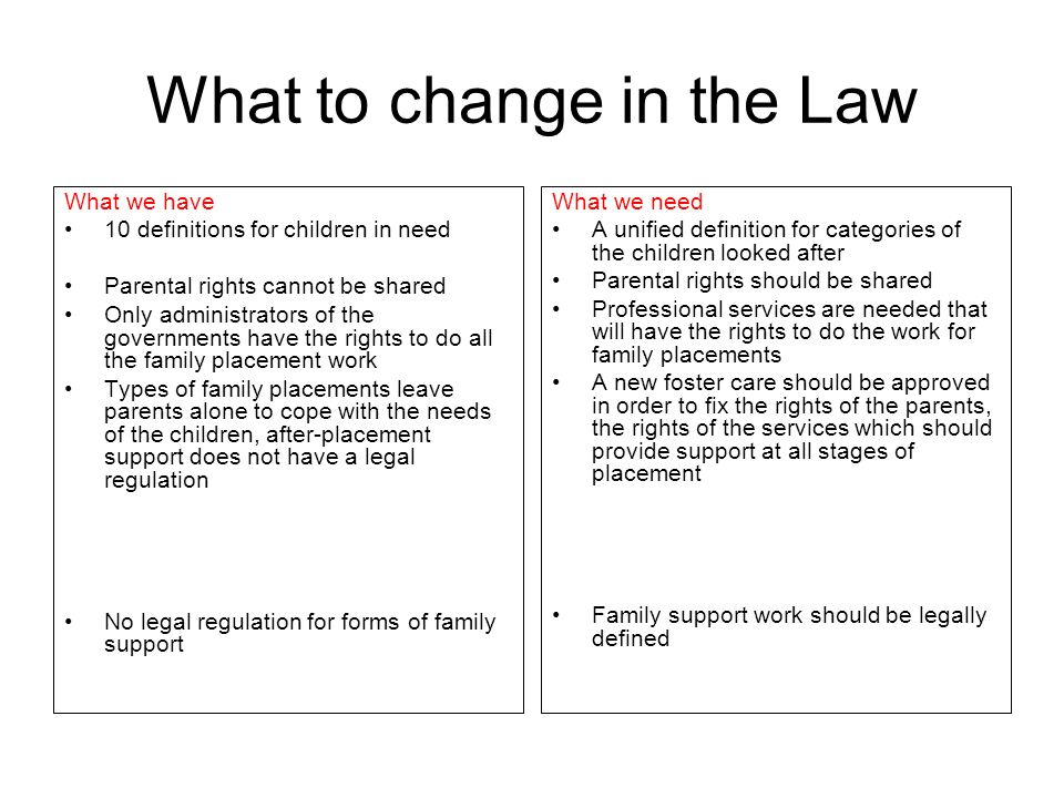 What to change in the Law What we have 10 definitions for children in need Parental rights cannot be shared Only administrators of the governments hav