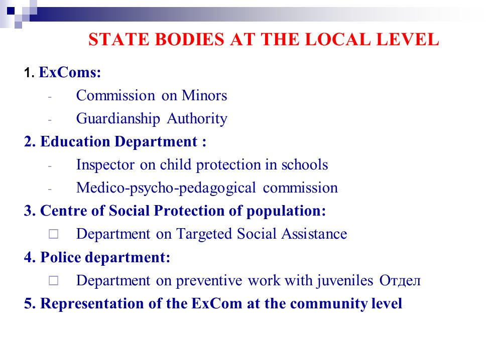 STATE BODIES AT THE LOCAL LEVEL 1. ExComs: - Commission on Minors - Guardianship Authority 2.