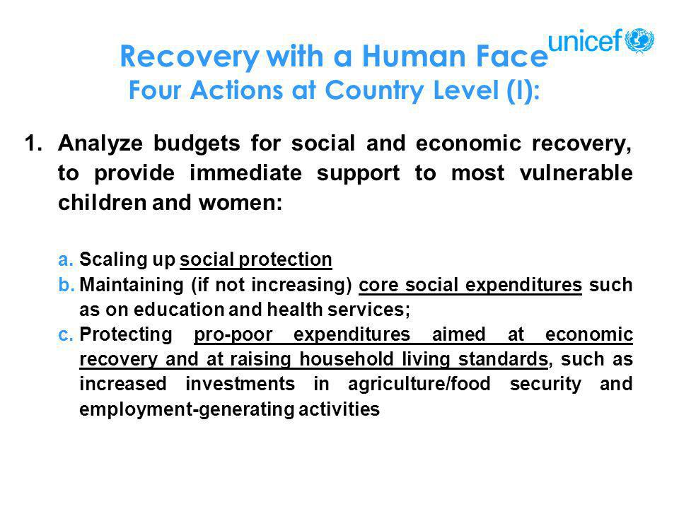 Recovery with a Human Face Four Actions at Country Level (I): 1.Analyze budgets for social and economic recovery, to provide immediate support to most
