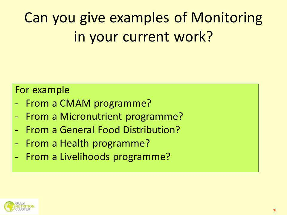 Can you give examples of Monitoring in your current work? For example - From a CMAM programme? -From a Micronutrient programme? -From a General Food D