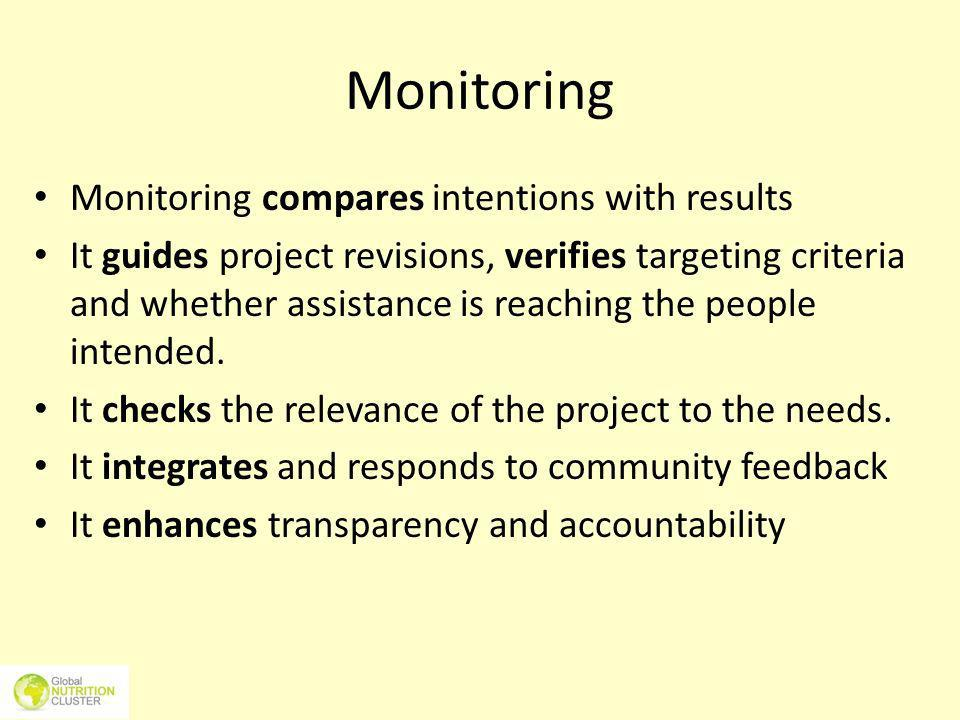 Monitoring Monitoring compares intentions with results It guides project revisions, verifies targeting criteria and whether assistance is reaching the