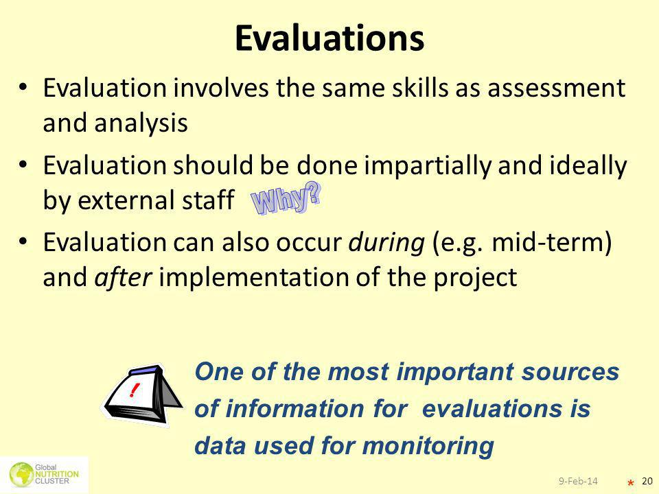 9-Feb-1420 Evaluations Evaluation involves the same skills as assessment and analysis Evaluation should be done impartially and ideally by external st