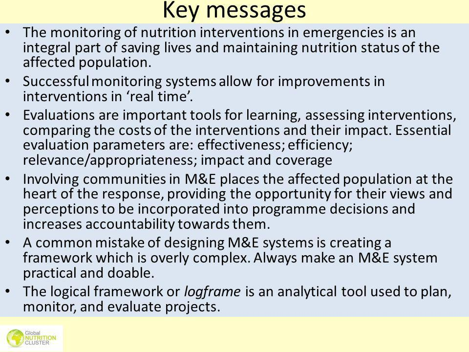 Key messages The monitoring of nutrition interventions in emergencies is an integral part of saving lives and maintaining nutrition status of the affe