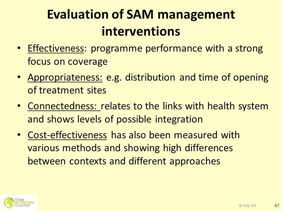 9-Feb-1467 Evaluation of SAM management interventions Effectiveness: programme performance with a strong focus on coverage Appropriateness: e.g. distr