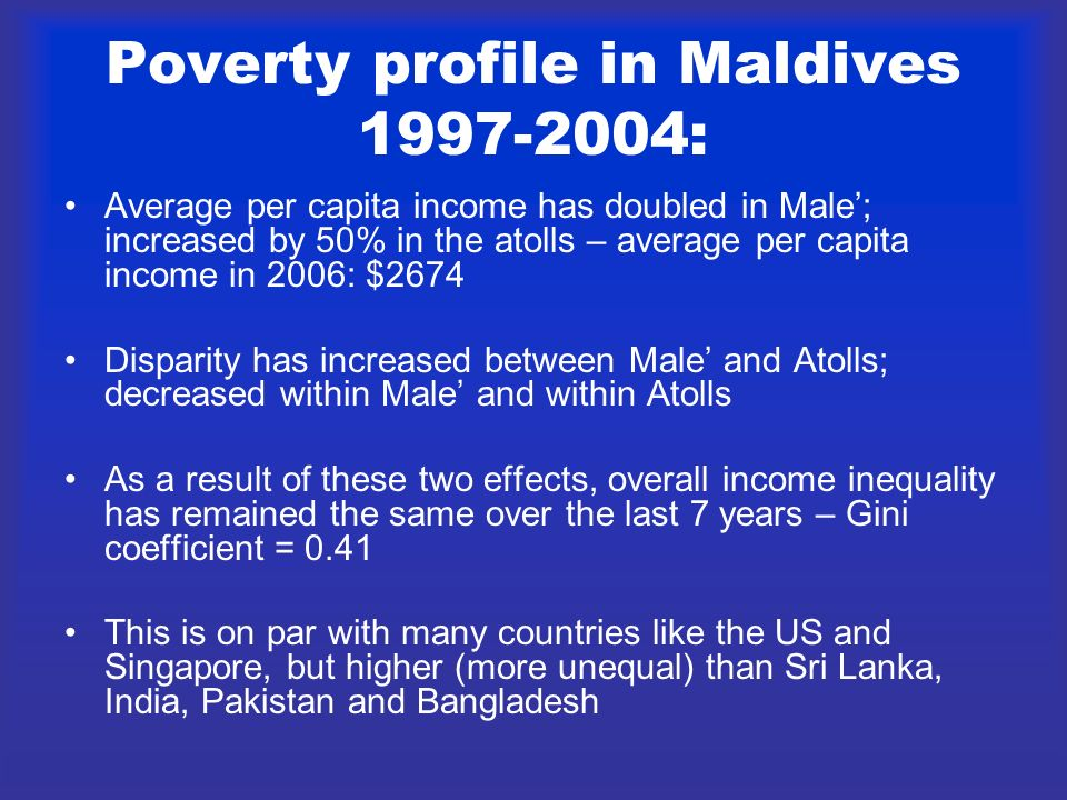 Poverty profile in Maldives 1997-2004: Average per capita income has doubled in Male; increased by 50% in the atolls – average per capita income in 20