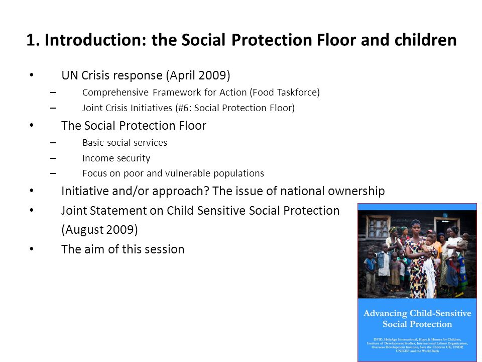 1. Introduction: the Social Protection Floor and children UN Crisis response (April 2009) – Comprehensive Framework for Action (Food Taskforce) – Join
