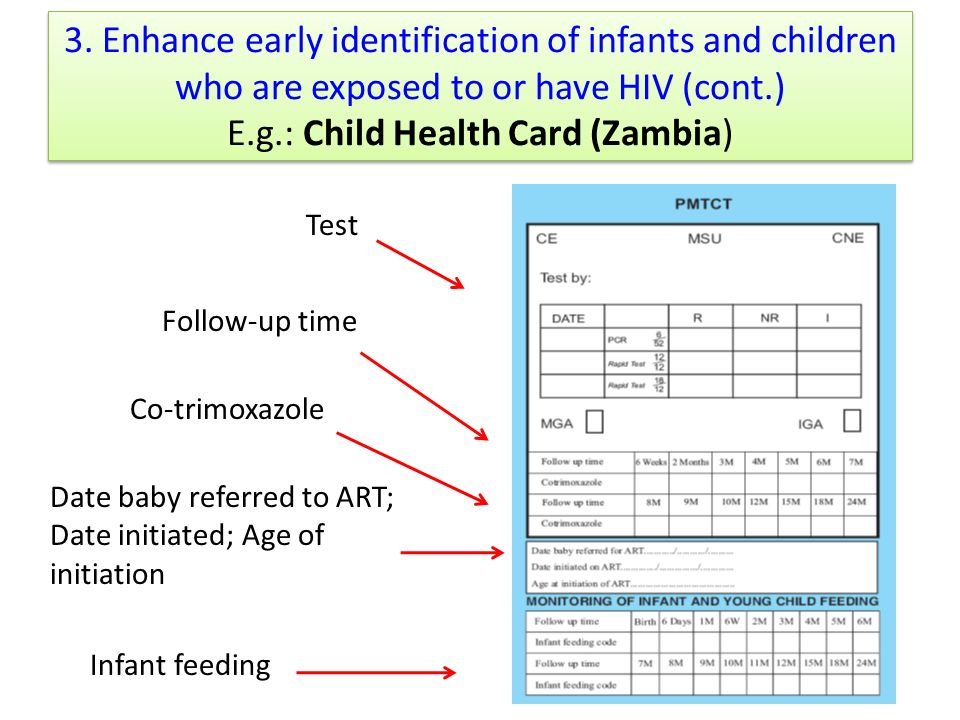 3. Enhance early identification of infants and children who are exposed to or have HIV (cont.) E.g.: Child Health Card (Zambia) Test Follow-up time Co