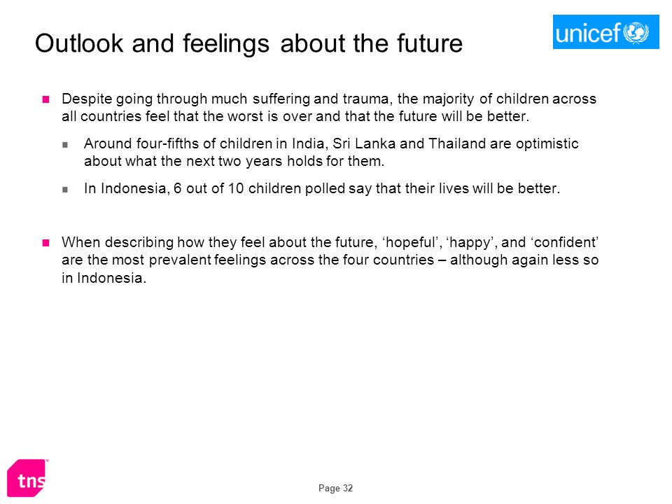 Page 32 Outlook and feelings about the future Despite going through much suffering and trauma, the majority of children across all countries feel that the worst is over and that the future will be better.