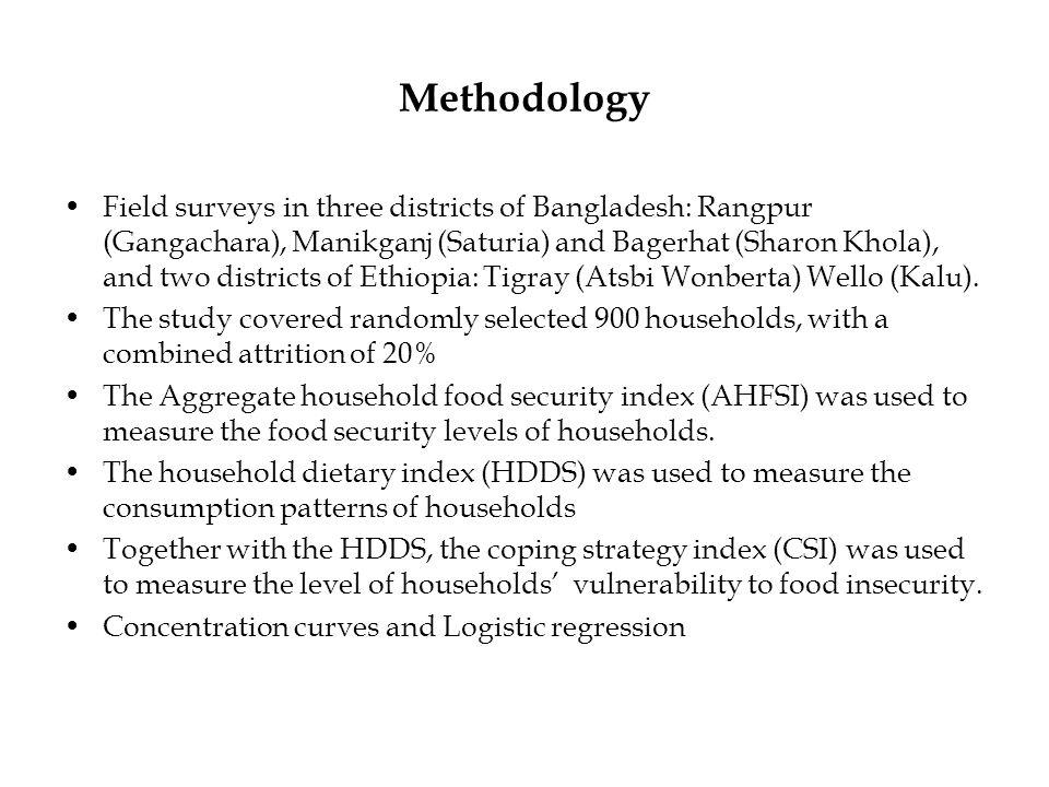 Methodology Field surveys in three districts of Bangladesh: Rangpur (Gangachara), Manikganj (Saturia) and Bagerhat (Sharon Khola), and two districts of Ethiopia: Tigray (Atsbi Wonberta) Wello (Kalu).