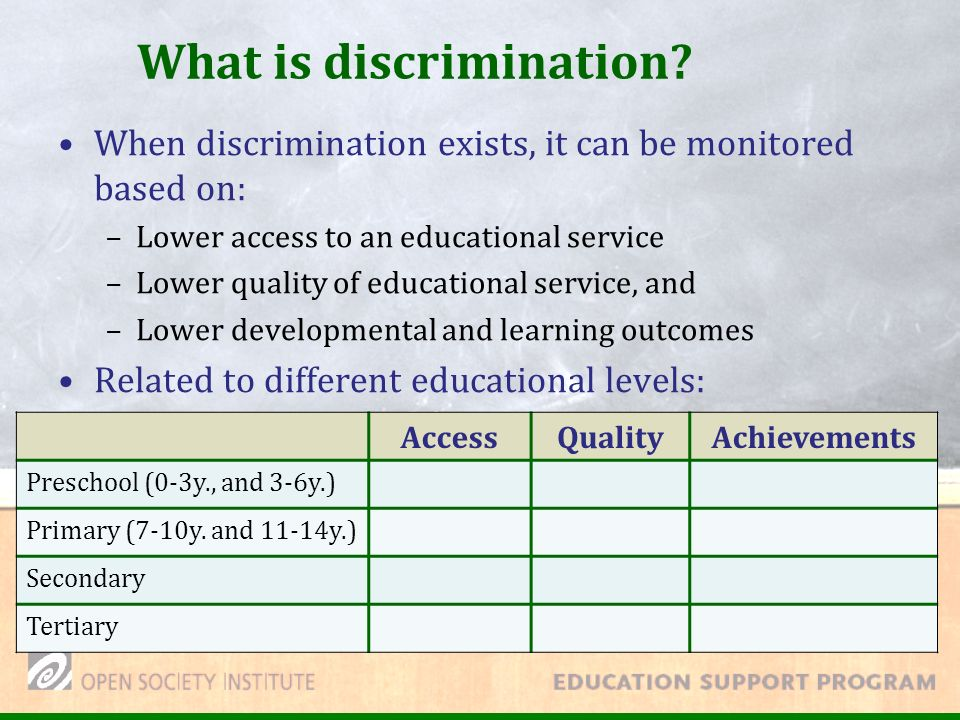 What is discrimination.