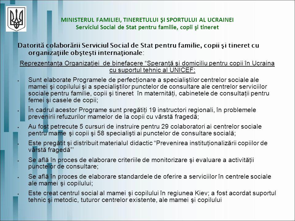 MINISTERUL FAMILIEI, TINERETULUI ŞI SPORTULUI AL UCRAINEI Serviciul Social de Stat pentru familie, copii şi tineret Datorită colaborării Serviciul Social de Stat pentru familie, copii şi tineret cu organizaţiile obşteşti internaţionale: Reprezentanţa Organizaţiei de binefacere Speranţă şi domiciliu pentru copii în Ucraina cu suportul tehnic al UNICEF: Sunt elaborate Programele de perfecţionare a specialiştilor centrelor sociale ale mamei şi copilului şi a specialiştilor punctelor de consultare ale centrelor serviciilor sociale pentru familie, copii şi tineret în maternităţi, cabinetele de consultaţii pentru femei şi casele de copii; În cadrul acestor Programe sunt pregătiţi 19 instructori regionali, în problemele prevenirii refuzurilor mamelor de la copii cu vârstă fragedă; Au fost petrecute 5 cursuri de instruire pentru 29 colaboratori ai centrelor sociale pentru mame şi copii şi 58 specialişti ai punctelor de consultare socială; Este pregătit şi distribuit materialul didactic Prevenirea instituţionalizării copiilor de vârstă fragedă Se află în proces de elaborare criteriile de monitorizare şi evaluare a activităţii punctelor de consultare; Se află în proces de elaborare standardele de oferire a serviciilor în centrele sociale ale mamei şi copilului; Este creat centrul social al mamei şi copilului în regiunea Kiev; a fost acordat suportul tehnic şi metodic, tuturor centrelor existente, ale mamei şi copilului