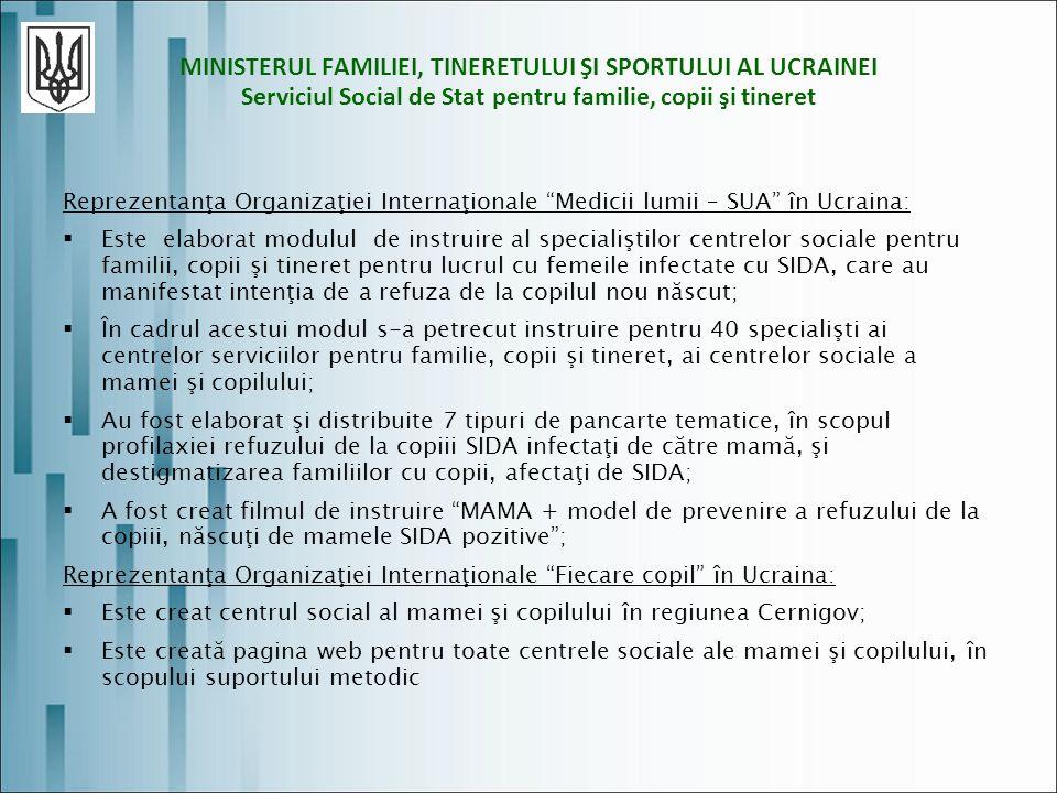 MINISTERUL FAMILIEI, TINERETULUI ŞI SPORTULUI AL UCRAINEI Serviciul Social de Stat pentru familie, copii şi tineret Reprezentanţa Organizaţiei Internaţionale Medicii lumii – SUA în Ucraina: Este elaborat modulul de instruire al specialiştilor centrelor sociale pentru familii, copii şi tineret pentru lucrul cu femeile infectate cu SIDA, care au manifestat intenţia de a refuza de la copilul nou născut; În cadrul acestui modul s-a petrecut instruire pentru 40 specialişti ai centrelor serviciilor pentru familie, copii şi tineret, ai centrelor sociale a mamei şi copilului; Au fost elaborat şi distribuite 7 tipuri de pancarte tematice, în scopul profilaxiei refuzului de la copiii SIDA infectaţi de către mamă, şi destigmatizarea familiilor cu copii, afectaţi de SIDA; A fost creat filmul de instruire MAMA + model de prevenire a refuzului de la copiii, născuţi de mamele SIDA pozitive; Reprezentanţa Organizaţiei Internaţionale Fiecare copil în Ucraina: Este creat centrul social al mamei şi copilului în regiunea Cernigov; Este creată pagina web pentru toate centrele sociale ale mamei şi copilului, în scopului suportului metodic