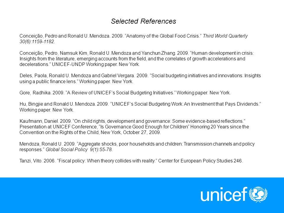13 Selected References Conceição, Pedro and Ronald U. Mendoza. 2009. Anatomy of the Global Food Crisis. Third World Quarterly 30(6):1159-1182. Conceiç