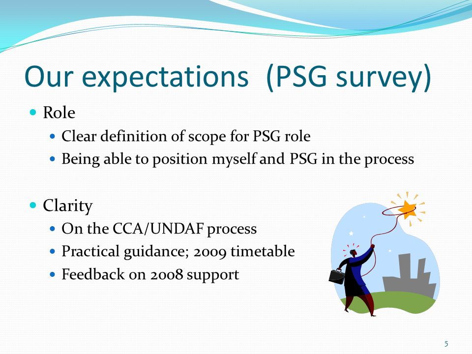 Our expectations (PSG survey) Role Clear definition of scope for PSG role Being able to position myself and PSG in the process Clarity On the CCA/UNDAF process Practical guidance; 2009 timetable Feedback on 2008 support 5
