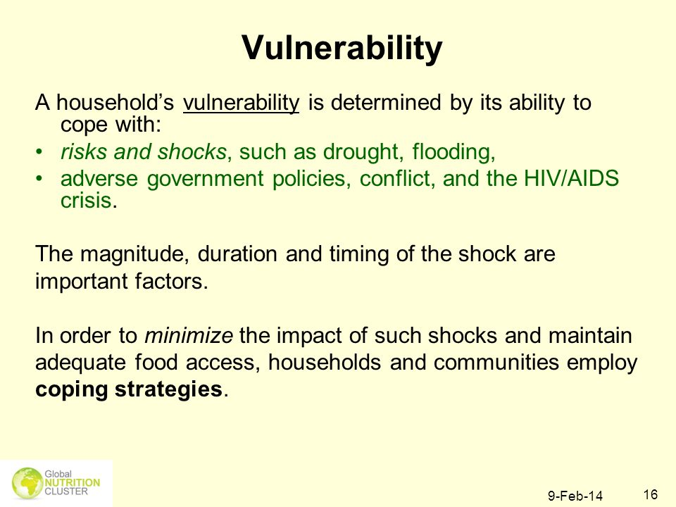 9-Feb-14 16 Vulnerability A households vulnerability is determined by its ability to cope with: risks and shocks, such as drought, flooding, adverse g