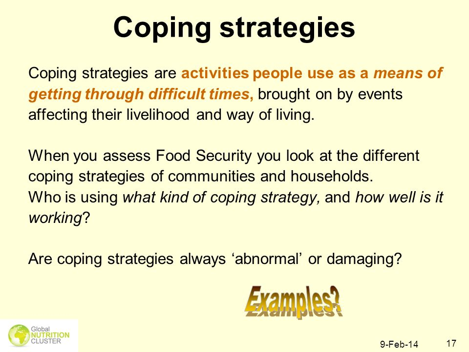 9-Feb-14 17 Coping strategies are activities people use as a means of getting through difficult times, brought on by events affecting their livelihood