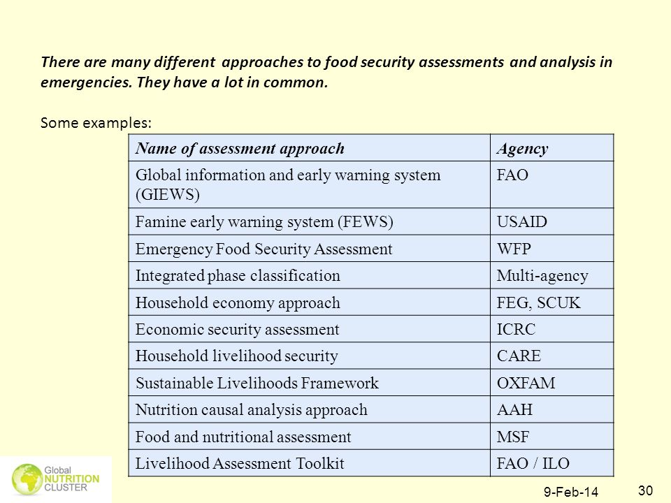 9-Feb-14 30 There are many different approaches to food security assessments and analysis in emergencies. They have a lot in common. Some examples: Na