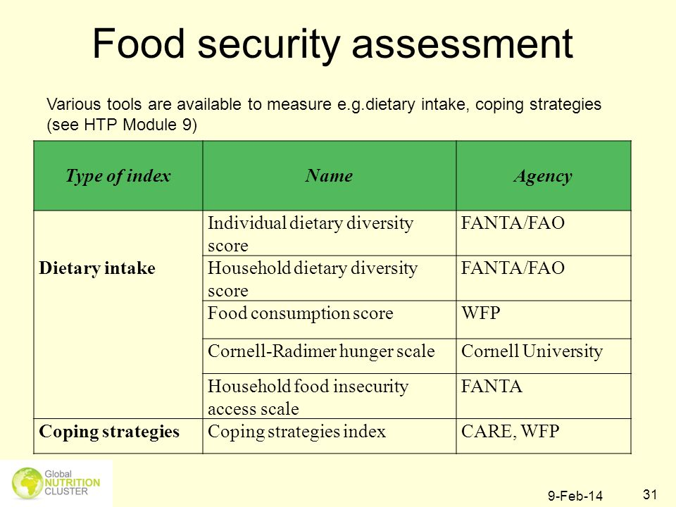 9-Feb-14 31 Food security assessment Type of index Name Agency Dietary intake Individual dietary diversity score FANTA/FAO Household dietary diversity