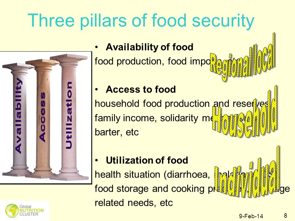 9-Feb-14 9 Link the following situations with availability/access/utilisation of food A severe drought can reduce a harvest or kill livestock.
