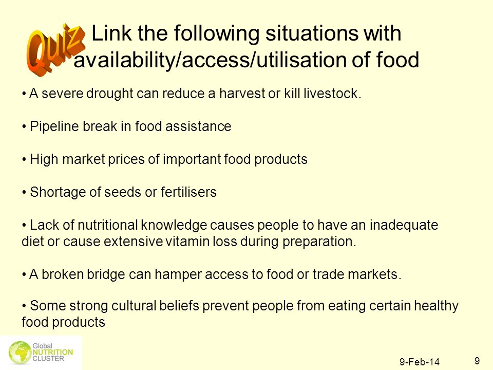 9-Feb-14 20 Why would information on Food Security be important when you work in nutrition?