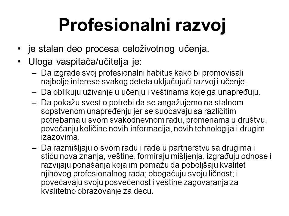 Profesionalni razvoj je stalan deo procesa celoživotnog učenja.