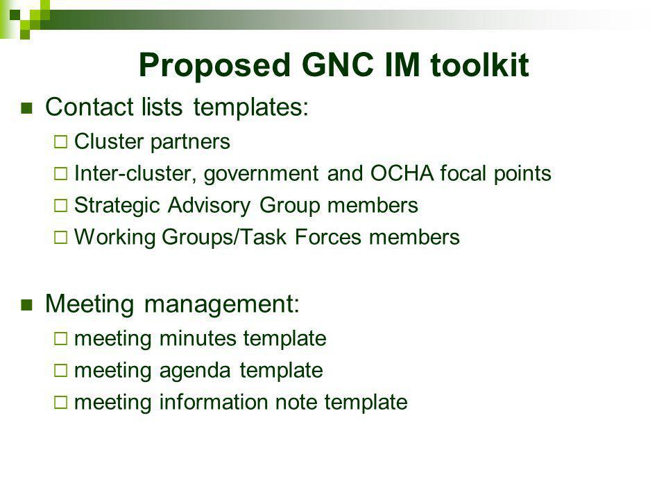 Proposed GNC IM toolkit Partner reporting templates: 3/4/5Ws; regular partner reporting (monthly/weekly); survey reporting Database for partner reporting Cluster reporting template Visuals: 3/4/5Ws analysis template (including maps) situation snapshot template Nutrition Cluster dashboard template