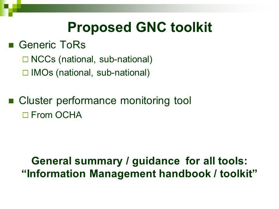 Proposed GNC toolkit Generic ToRs NCCs (national, sub-national) IMOs (national, sub-national) Cluster performance monitoring tool From OCHA General su