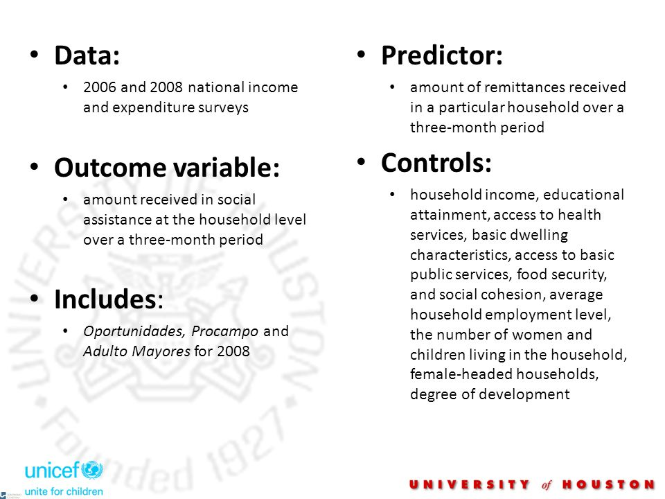Data: 2006 and 2008 national income and expenditure surveys Outcome variable: amount received in social assistance at the household level over a three