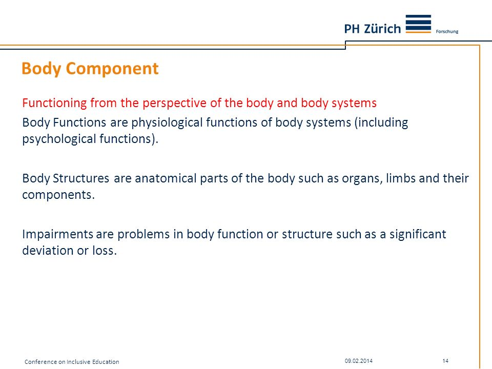 Body Component Functioning from the perspective of the body and body systems Body Functions are physiological functions of body systems (including psy