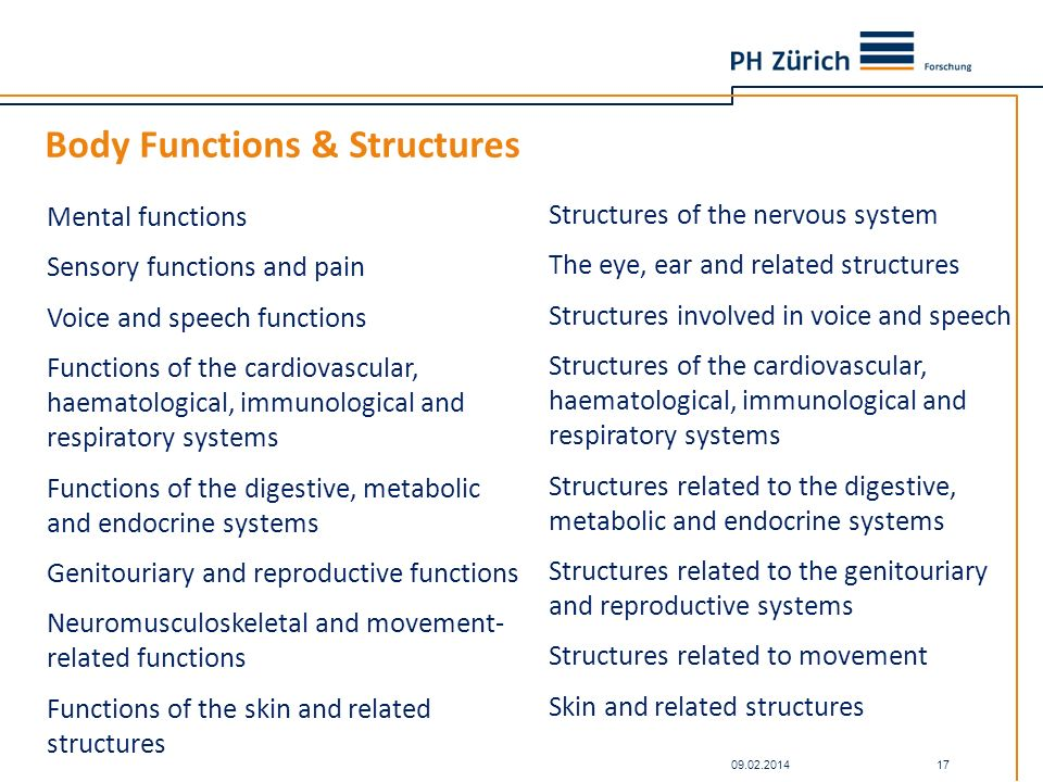 Body Functions & Structures 09.02.2014 17 Mental functions Sensory functions and pain Voice and speech functions Functions of the cardiovascular, haem