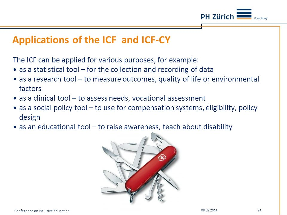 Applications of the ICF and ICF-CY The ICF can be applied for various purposes, for example: as a statistical tool – for the collection and recording