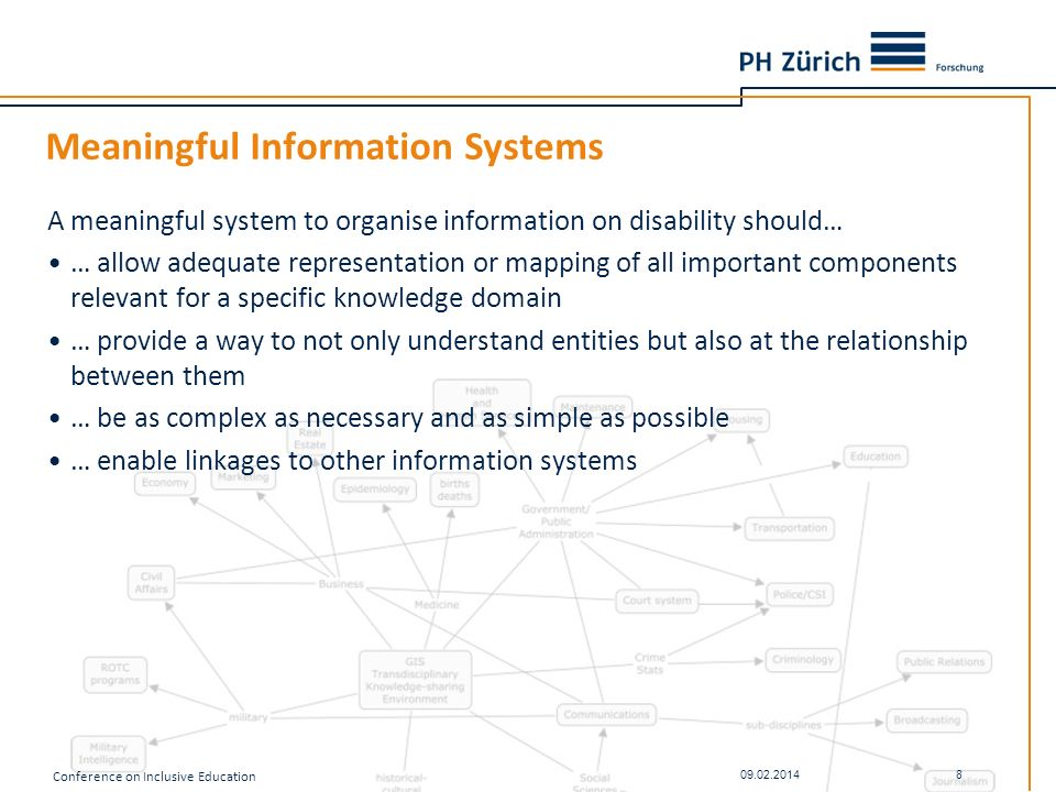 Meaningful Information Systems A meaningful system to organise information on disability should… … allow adequate representation or mapping of all imp
