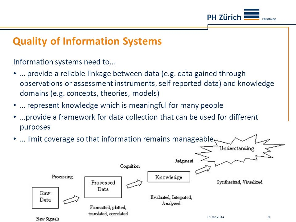 Quality of Information Systems Information systems need to… … provide a reliable linkage between data (e.g. data gained through observations or assess