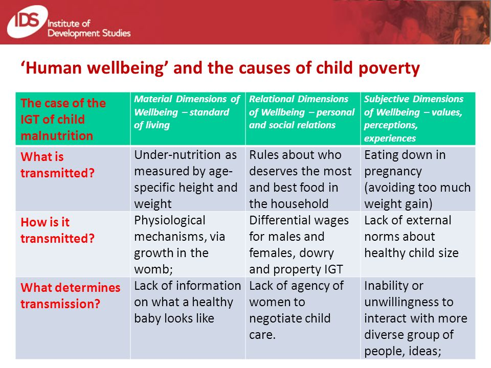 Human wellbeing and the causes of child poverty The case of the IGT of child malnutrition Material Dimensions of Wellbeing – standard of living Relational Dimensions of Wellbeing – personal and social relations Subjective Dimensions of Wellbeing – values, perceptions, experiences What is transmitted.