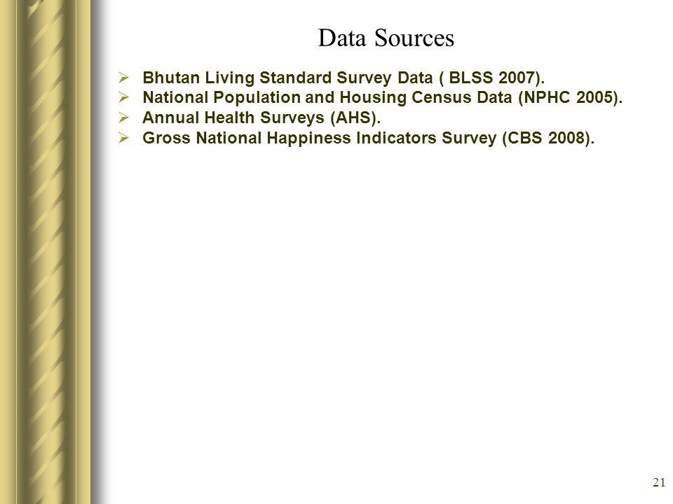21 Data Sources Bhutan Living Standard Survey Data ( BLSS 2007). National Population and Housing Census Data (NPHC 2005). Annual Health Surveys (AHS).