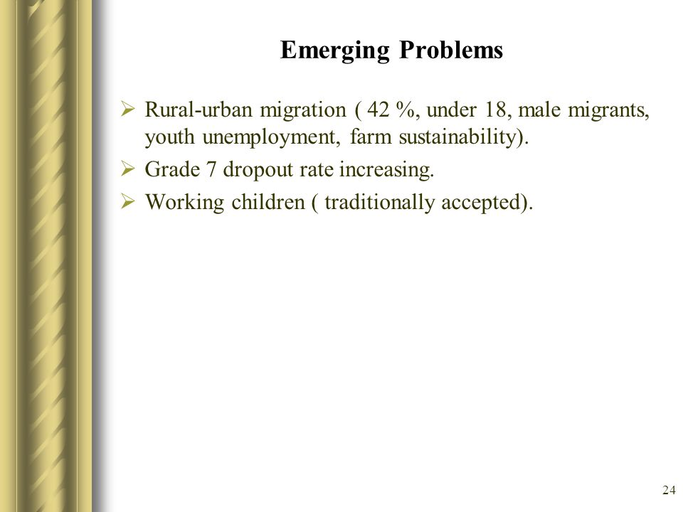 24 Emerging Problems Rural-urban migration ( 42 %, under 18, male migrants, youth unemployment, farm sustainability). Grade 7 dropout rate increasing.