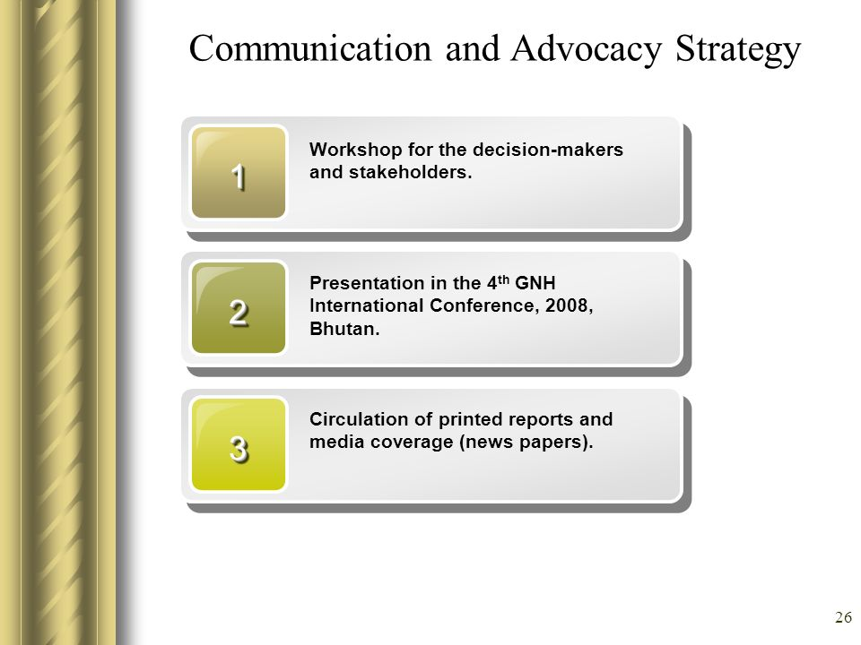 26 Communication and Advocacy Strategy 11 Workshop for the decision-makers and stakeholders. 22 Presentation in the 4 th GNH International Conference,