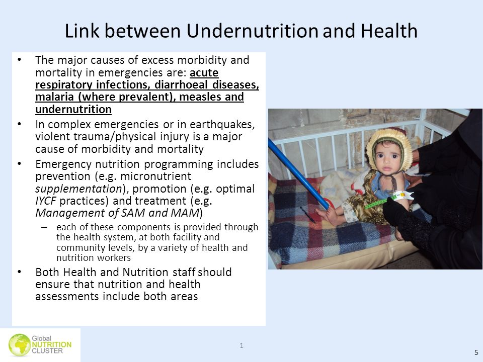 Link between Undernutrition and Health The major causes of excess morbidity and mortality in emergencies are: acute respiratory infections, diarrhoeal