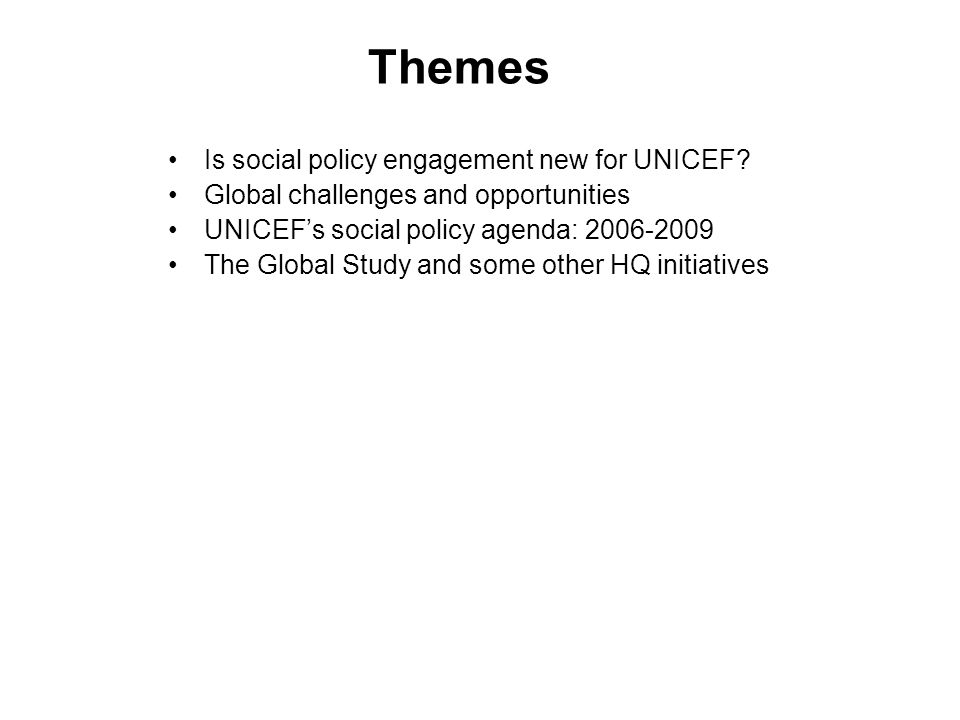 Work on Public Budgets Training courses Budget Policies and Investments for Children FA5 Thematic funding (new round in May) Global advocacy: UNICEF conference on Budgets in Madrid (October) to share experience of budget work for childrens rights.