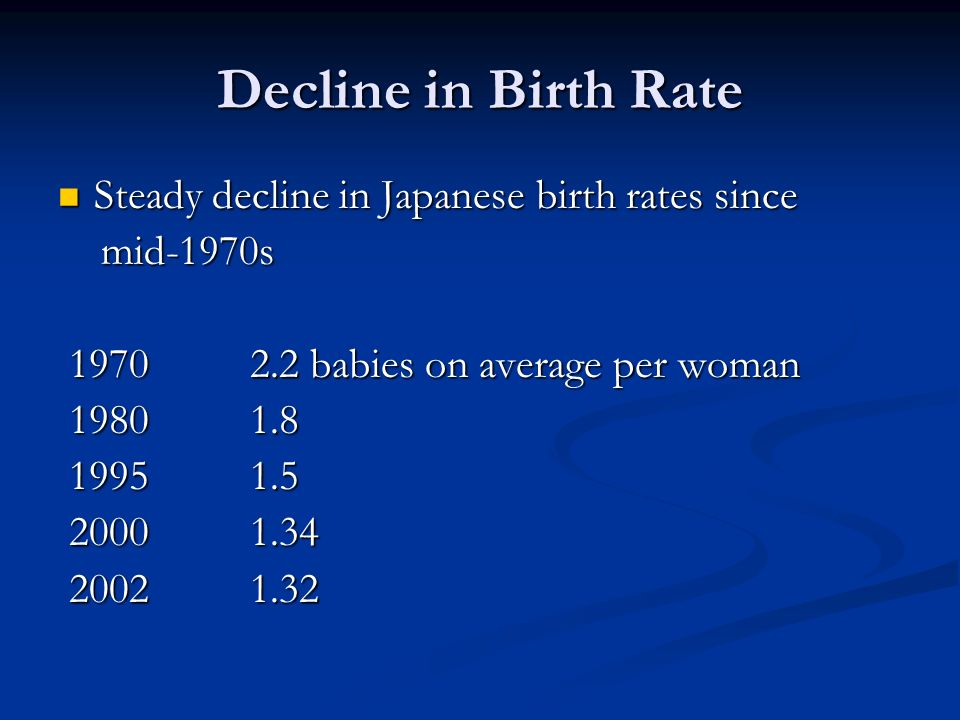Decline in Birth Rate Steady decline in Japanese birth rates since Steady decline in Japanese birth rates since mid-1970s mid-1970s babies on average per woman babies on average per woman