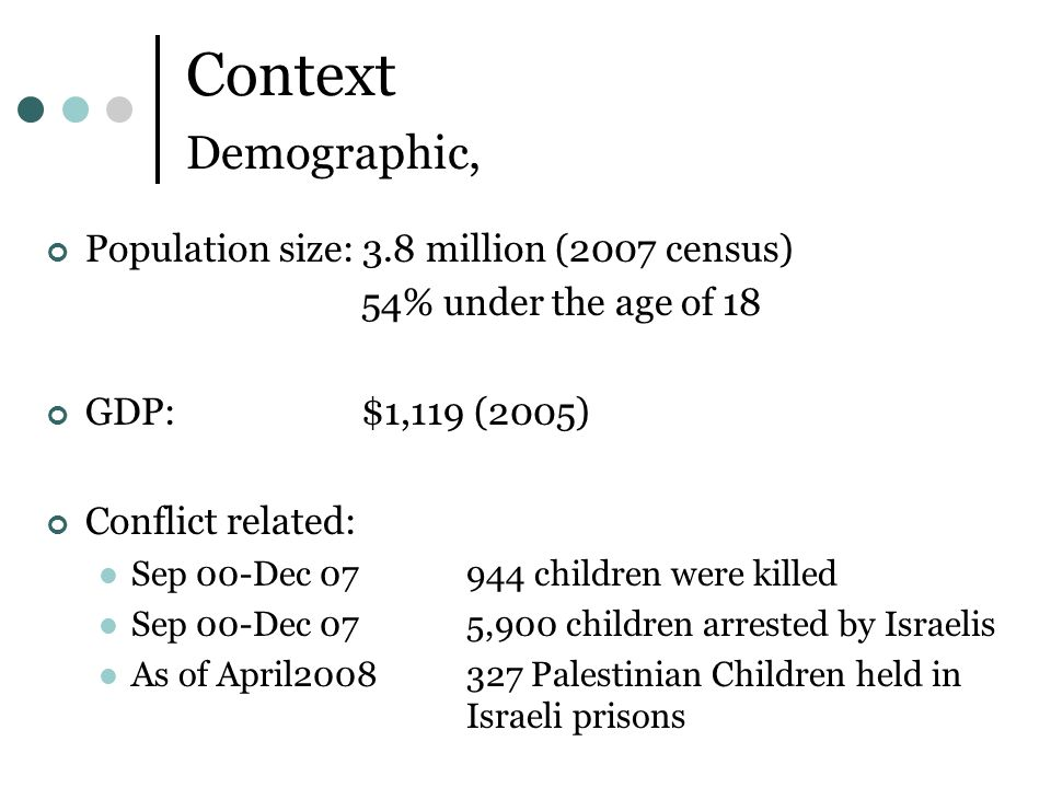 Context Demographic, Population size: 3.8 million (2007 census) 54% under the age of 18 GDP: $1,119 (2005) Conflict related: Sep 00-Dec children were killed Sep 00-Dec 075,900 children arrested by Israelis As of April Palestinian Children held in Israeli prisons