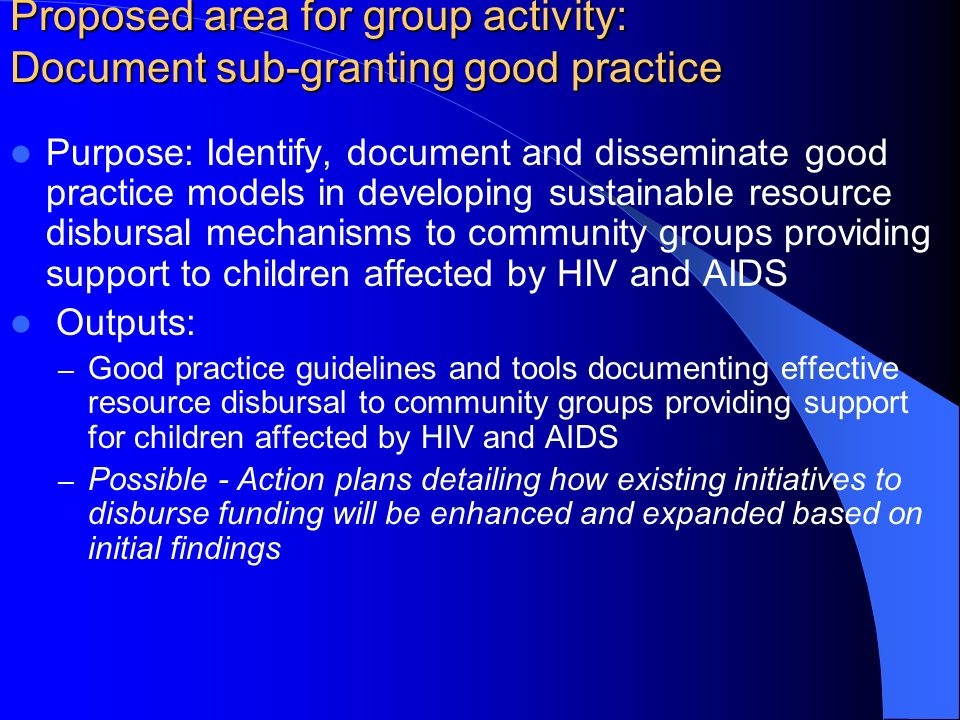 Proposed area for group activity: Document sub-granting good practice Purpose: Identify, document and disseminate good practice models in developing sustainable resource disbursal mechanisms to community groups providing support to children affected by HIV and AIDS Outputs: – Good practice guidelines and tools documenting effective resource disbursal to community groups providing support for children affected by HIV and AIDS – Possible - Action plans detailing how existing initiatives to disburse funding will be enhanced and expanded based on initial findings