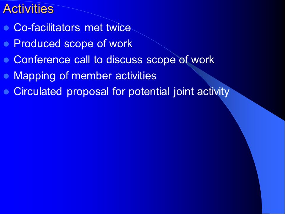 Activities Co-facilitators met twice Produced scope of work Conference call to discuss scope of work Mapping of member activities Circulated proposal for potential joint activity