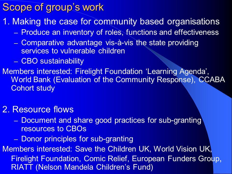 Scope of groups work 1.